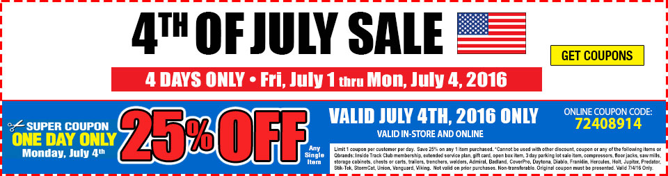 July 4th - 25% Off