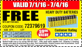Free heavy duty batteries