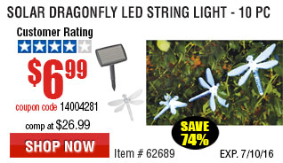 Solar Dragonfly LED String Light - 10 Piece