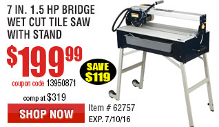 7 in. 1.5 HP Bridge Wet Cut Tile Saw with Stand