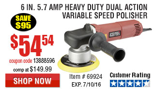 6 in. 5.7 Amp Heavy Duty Dual Action Variable Speed Polisher