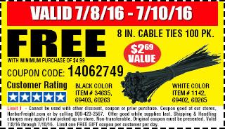 Free 8 in. Cable Ties 100 Pk.
