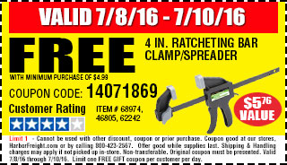 Free 4 in. Ratcheting Bar Clamp/Spreader