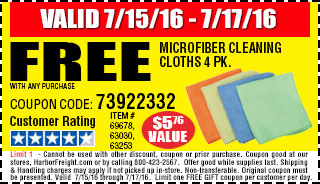 Free Microfiber Cleaning Cloths 4 Pk.