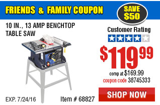 10 in., 13 Amp Benchtop Table Saw