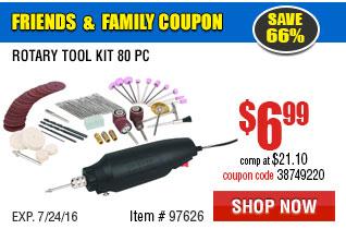 Rotary Tool Kit 80 Pc