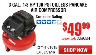 3 gal. 1/3 HP 100 PSI Oilless Pancake Air Compressor