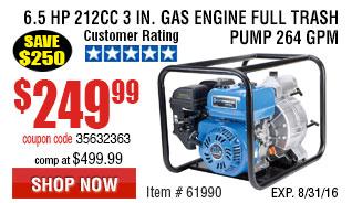 6.5 HP  212cc 3 in. Gas Engine Full Trash Pump 264 GPM