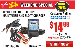 12 Volt Deluxe Battery Maintainer and Float Charger