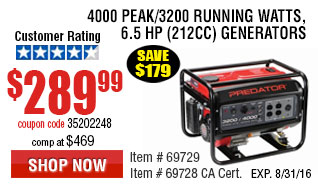 4000 Peak/3200 Running Watts, 6.5 HP  (212cc) Generator