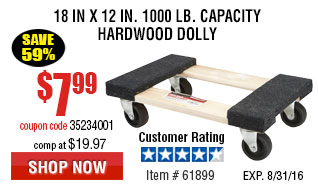 18 In x 12 In. 1000 lb. Capacity Hardwood Dolly