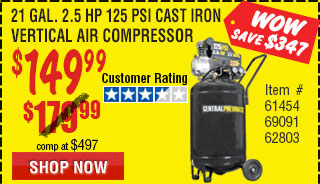 21 gal. 2.5 HP 125 PSI Cast Iron Vertical Air Compressor