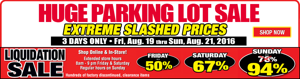 Huge Parking Lot Sale