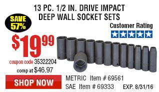 13 Pc 1/2 in. Drive mpact Deep Wall Socket Set