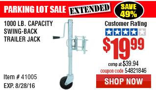 1000 lb. Capacity Swing-Back Trailer Jack