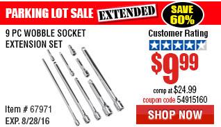 9 Pc Wobble Socket Extension Set