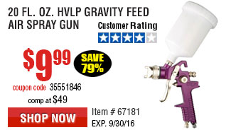 20 fl. oz. HVLP Gravity Feed Air Spray Gun