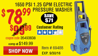 1650 PSI 1.25 GPM Electric Pressure Washer