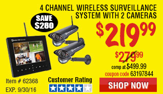 4 Channel Wireless Surveillance System with 2 Cameras