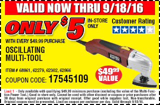 Multi-Tool only $5 with every $49.99 purchase