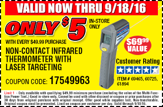 Infrared Thermometer only $5 with every $49.99 purchase
