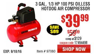 3 gal. 1/3 HP 100 PSI Oilless Hotdog Air Compressor
