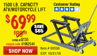 1500 Lb. Capacity ATV/Motorcycle Lift