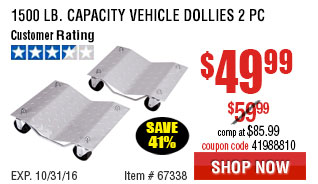 1500 lb. Capacity Vehicle Dollies 2 Pc