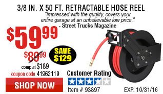 3/8 in. x 50 ft. Retractable Hose Reel3/8 in. x 50 ft. Retractable Hose Reel