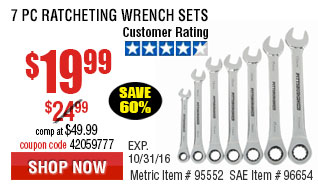 7 Pc Metric Combination Ratcheting Wrench Set