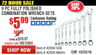 9 Pc Fully Polished Combination Wrench Set