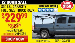800 lb. Capacity Full Size Truck Rack