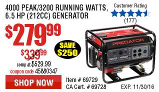 4000 Peak/3200 Running Watts, 6.5 HP  (212cc) Generator CARB