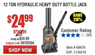 12 Ton Hydraulic Heavy Duty Bottle Jack