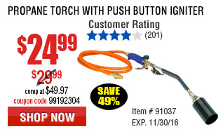 PROPANE TORCH WITH PUSH BUTTON IGNITER
