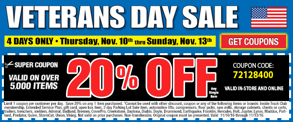 Veterans Day Sale Preview