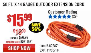 50 Ft. x 14 Gauge Outdoor Extension Cord