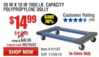 30 In x 18 In 1000 lb. Capacity Polypropylene Dolly