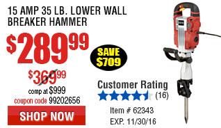 15 Amp 35 lb. Lower Wall Breaker Hammer