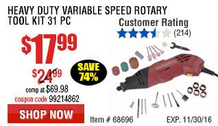 Heavy Duty Variable Speed Rotary Tool Kit 31 Pc