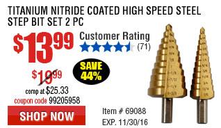 Titanium Nitride Coated High Speed Steel Step Bit Set 2 Pc