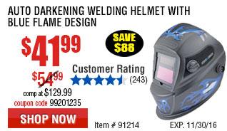 Auto Darkening Welding Helmet with Blue Flame Design