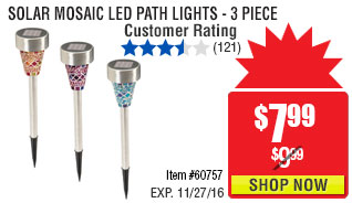 Solar Mosaic LED Path Lights - 3 Piece