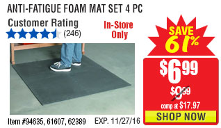 Anti-Fatigue Foam Mat Set 4 Pc