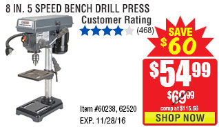 8 in. 5 Speed Bench Drill Press