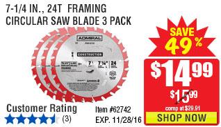 7-1/4 in., 24T  Framing Circular Saw Blade 3 Pack