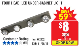 Four Head, LED Under-Cabinet Light
