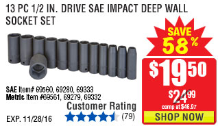13 Pc 1/2 in. Drive SAE Impact Deep Wall Socket Set