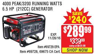 4000 Peak/3200 Running Watts, 6.5 HP  (212cc) Generator EPA III