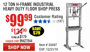 12 ton H-Frame Industrial Heavy Duty Floor Shop Press